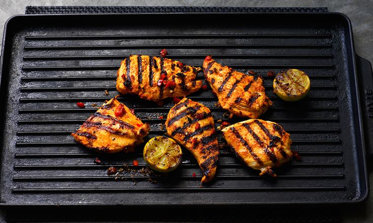 Spicy chilli and paprika marinated chicken to grill, griddle or barbecue. Serve with a squeeze of lime juice.