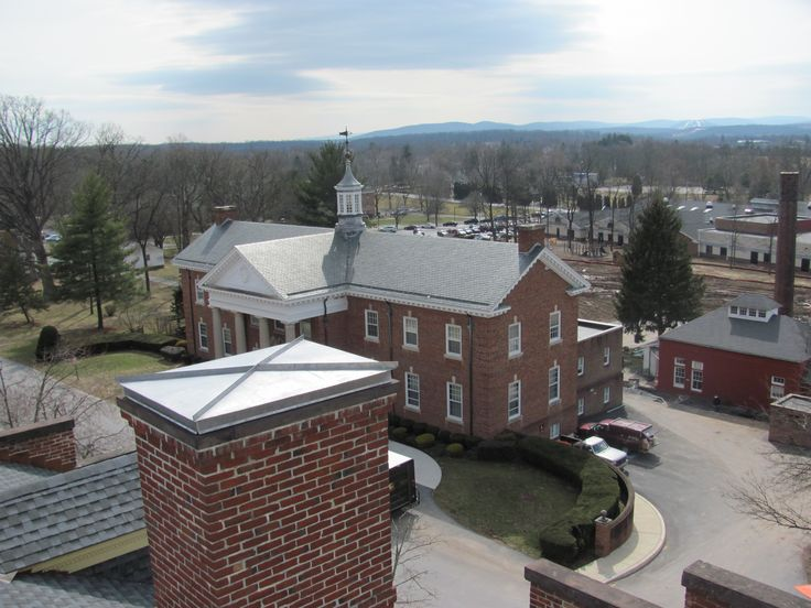 Seminary Ridge Museum, Gettysburg, PA. View from the cupola where Union Cavalry General John Buford, observed the advancement of Confederate forces from the west. The new museum allows visitors to go atop the Lutheran Seminary Building and view the battlefield from the cupola.  This view southwestern view shows some of the other seminary buildings in the foreground.  http://www.whereandwhen.com/things+to+do/Seminary+Ridge+Museum/  Where & When, Pennsylvania's Travel Guide