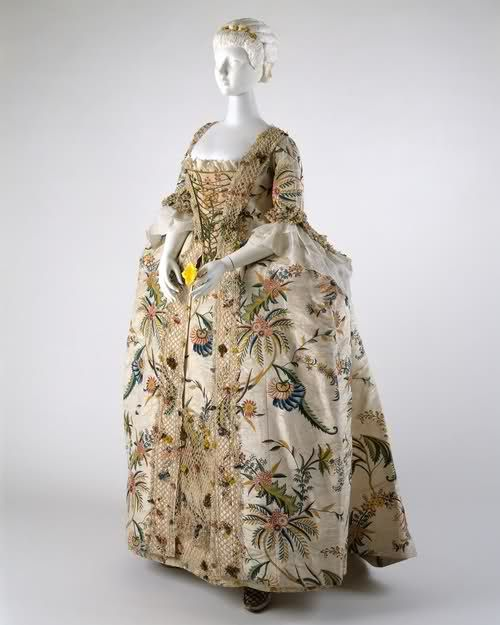 1740s Robe a la francaise (made in the Britain) - Hand painted sile moire faille, crocheted netting, cream silk fly fringe and polychrome flowers of silk floss.