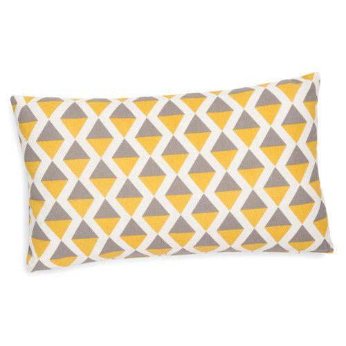 Housse de coussin en coton grise/jaune 30 x 50 cm SINTRA