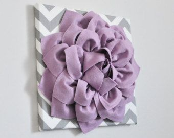 Pared ARTE lila flor lienzo Floral decoración Chic Casa Decor estilo del colgante de pared 12 X 12 colgante de pared sala Decor pálido Chevron gris lavanda