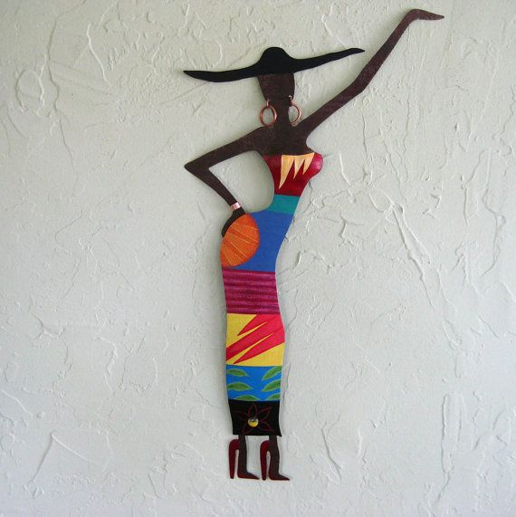 Exotic African  Lady   metal wall sculpture by frivoloustendencies, $225.00