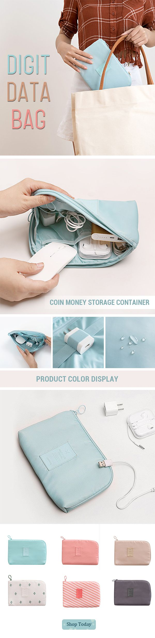 US$6.59 Digit Data Bag Headphone Protective Case Coin Money Storage Container#newchic#storage#gift