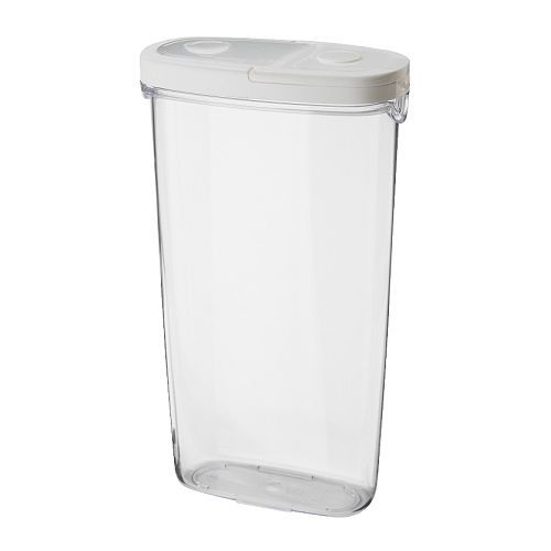 IKEA IKEA 365+ Dry food jar with lid Transparent/white 2.3 l Remove the lid completely to fill the jar and open half the lid to make it easier to pour from.