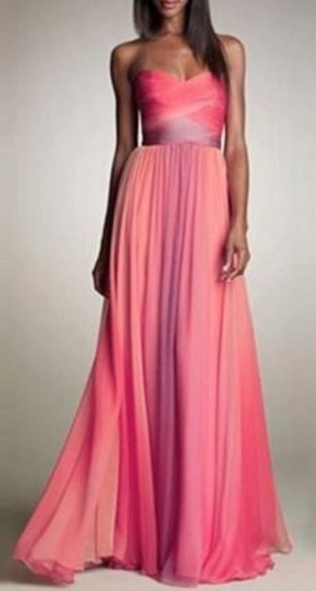 Stunning! Sexy Pink  Ombre Strapless Sleeveless Ombre Maxi Dress #Gorgeous #Pink #Ombre #Maxi #Dress #Fashion