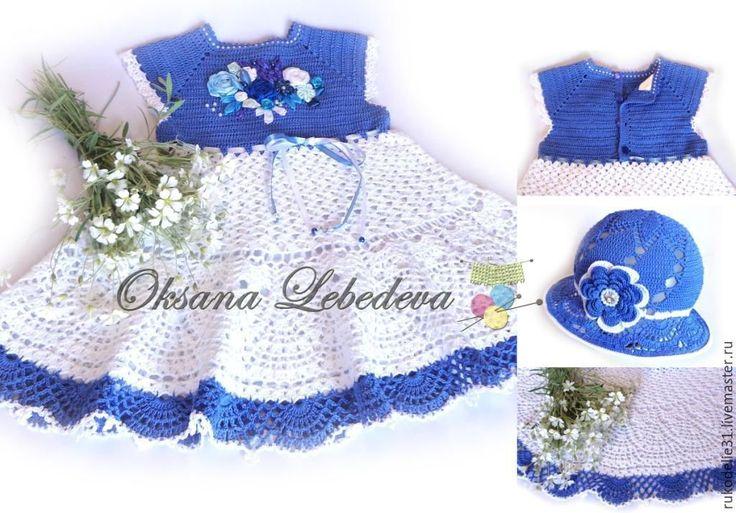 Купить Платье летнее для девочки Гжель крючком вышивка лентами белый синий