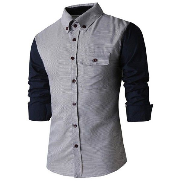 Classic Spliced Turn Down Collar Long Sleeve Shirt For Men ($10) ❤ liked on Polyvore featuring men's fashion, men's clothing, men's shirts, men's casual shirts, men, guy stuff, tops, mens long sleeve shirts, mens long sleeve collared shirts and mens longsleeve shirts