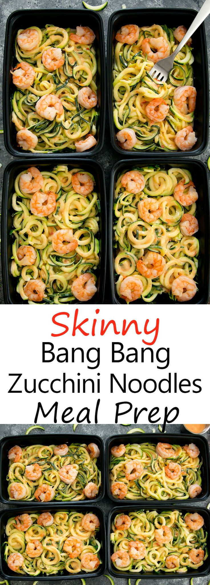 Skinny Bang Bang Zucchini Noodles Meal Prep. An easy, lightened up version of bang bang pasta that can be made ahead of time for multiple meals during the week.