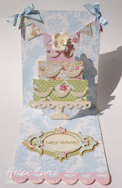 Beautiful example of using the Pop 'n Cuts Base die as a platform to animate any other die. In this case, this lovely Brenda Walton Cake die. Also uses the Bigz Fancy Frame. Beautiful! The Dining Room Drawers: Tanya Whelan Layered Cake card