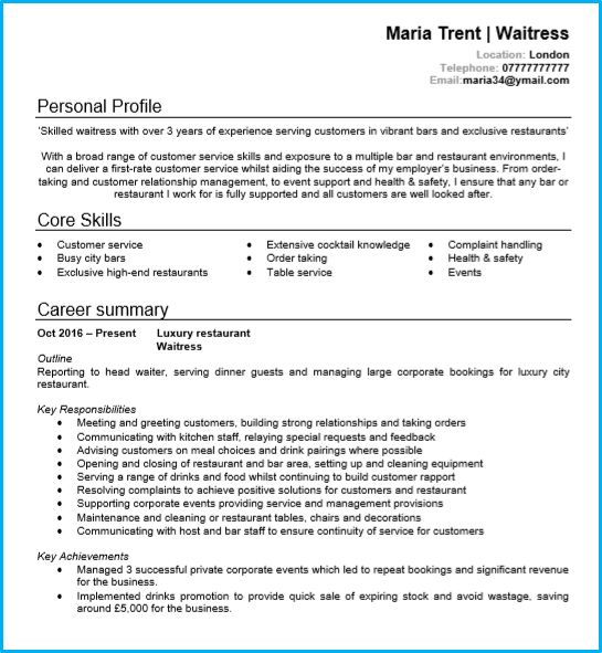 waiter  waitress cv example page 1 in microsoft word  create your own interview