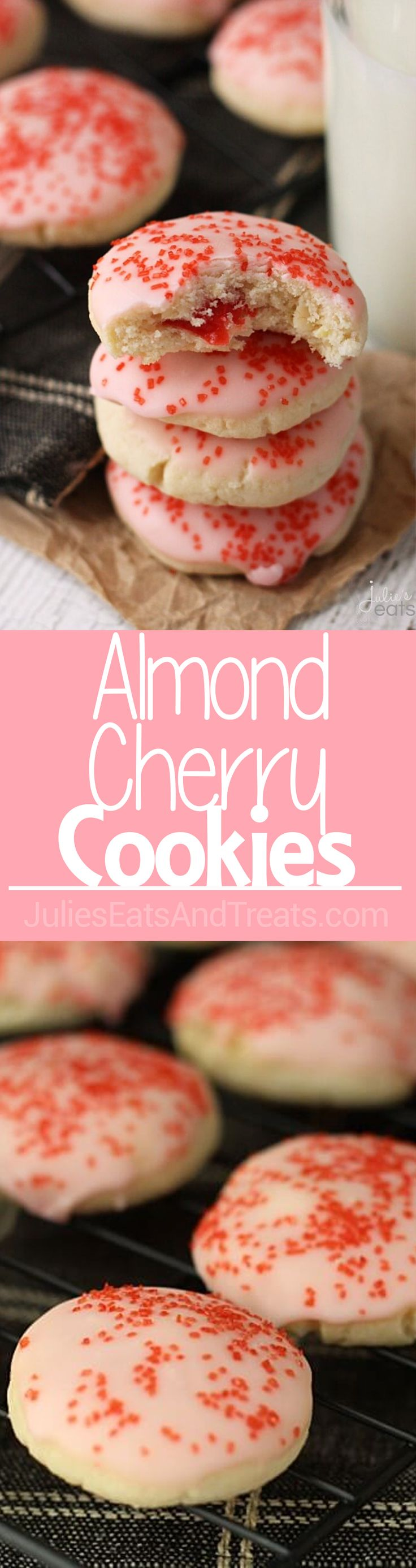 Almond Cherry Cookies Recipe ~ Soft, Delicious Almond Cookies Glazed in Cherry Frosting with a Surprise Cherry in the Middle! via @julieseats