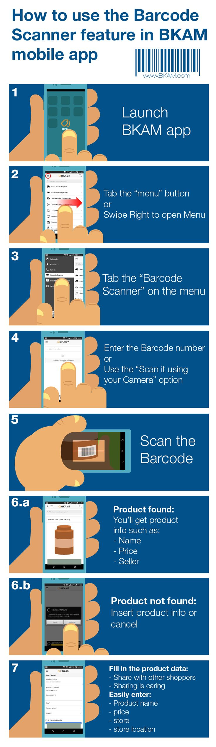 How to use #Bkam #barcode scanner in #bkam #mobile app to compare prices of #grocery products