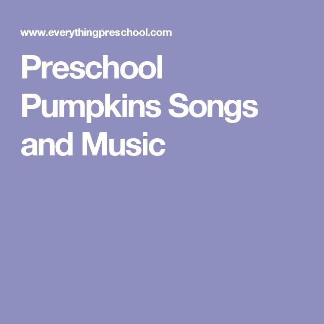Preschool Pumpkins Songs and Music