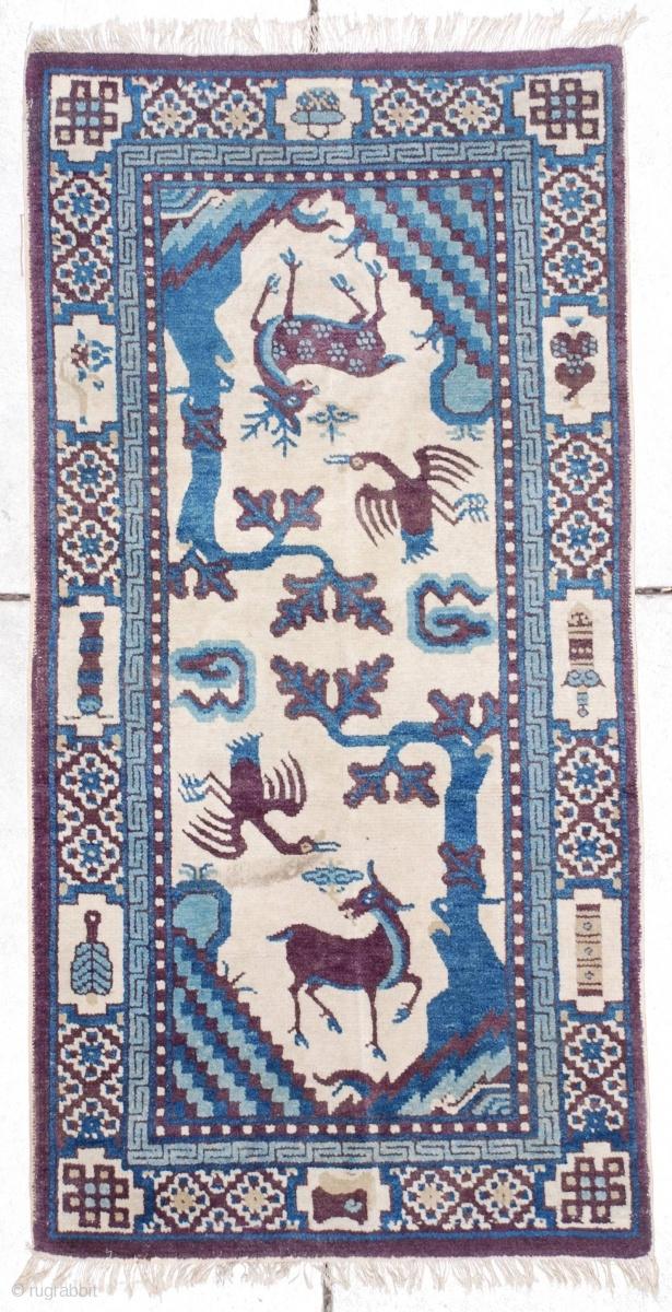 MONGOLIAN RUG Blue Oriental Rug 4' 10 x 6' 4 Area Rug |Mongol Rug