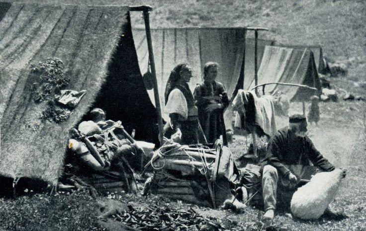 "Albania. ""Brown tents used the the Aromanian nomad shepherds"", 1929, photo Hugo Bernatzik"