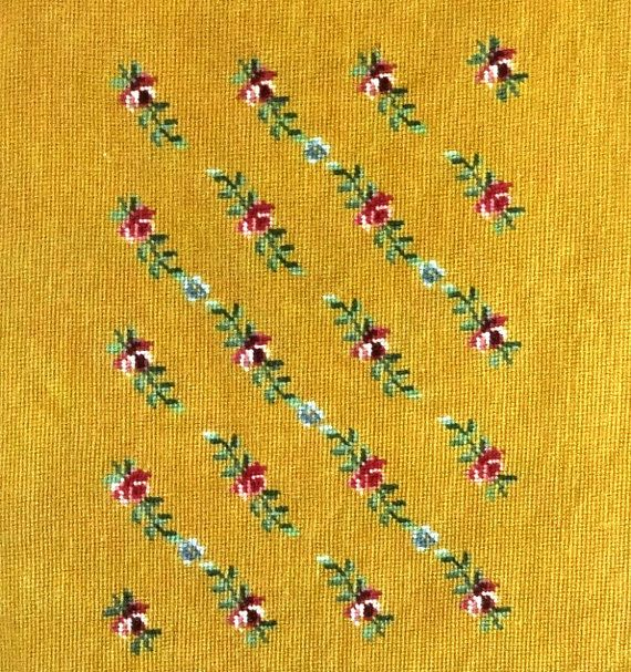 Vintage Preworked Large Needlepoint Canvas by VictorianWardrobe, $20.00