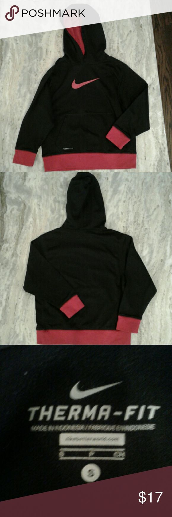 Boys Nike Hoodie Black and red Nike hoodie. Boys size sm. Excellent condition. No rips, tears or stains. Smoke free home. Nike Shirts & Tops Sweatshirts & Hoodies