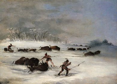 Sioux Indians on Snowshoes Lancing Buffalo 1846-1848, George Catlin, oil on canvas, 20 1/8 x 27 3/8 in. (51.0 x 69.4 cm), Smithsonian American Art Museum, Gift of Mrs. Joseph Harrison, Jr., 1985.66.565