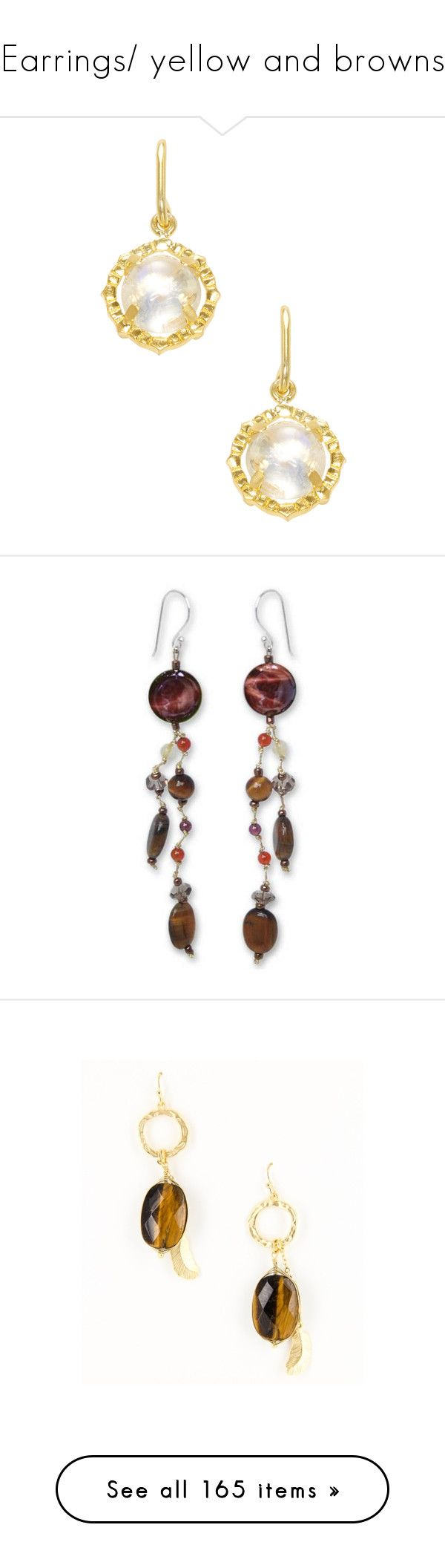 """""""Earrings/ yellow and browns"""" by thesassystewart on Polyvore featuring jewelry, earrings, white, white earrings, 18k jewelry, 18k gold plated earrings, 18 karat gold earrings, 18 karat gold jewelry, beaded and carnelian"""