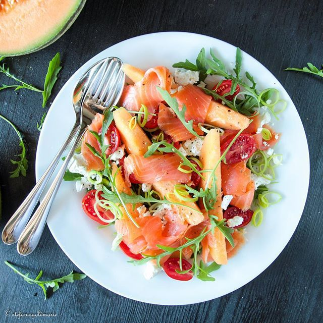 Mixed Salad with Melon, Organic Salmon, Feta, & Olive Oil Dressing…
