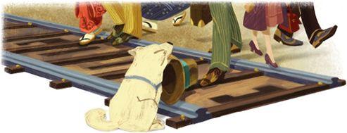 Hachiko - 10 november 2012 Het onderstaande logo was het eerste logo van Google dat in het teken stond van de geboortedag van een dier. In dit geval gaat het om de Japanse hond Hachiko die in Japan grote bekendheid verwierf omdat hij na de dood van zijn baasje 9 jaar lang wachtte op zijn terugkeer bij een treinstation in Tokio. Nadat de hond was overleden werd er een standbeeld voor hem opgericht. Elk jaar wordt er nog altijd op 8 april een ceremonie ter nagedachtenis van Hachiko…