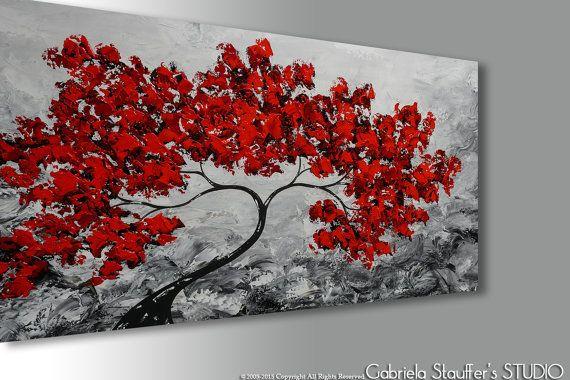 Resumen pintura, arte abstracto, árbol pintura, pintura abstracta de árbol, pintura Original, arte contemporáneo, pintura del paisaje, arte de acrílico, pintura de paisaje abstracta, árbol rojo, negro blanco rojo, arte de la lona, pintura con textura, textura pared arte, arte, decoración de la pared, Resumen el arte de la pared, decoración del hogar    ---Bienvenido a nuestro estudio --------------------   Pintado a mano moderna pintura abstracta Original por Gabriela y Catalin…