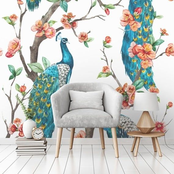 Blue Peacock Wallpaper Self Adhesive Wallpaper Wall Mural Etsy Turquoise Wallpaper Wallpaper Designs For Walls Pink And Grey Wallpaper
