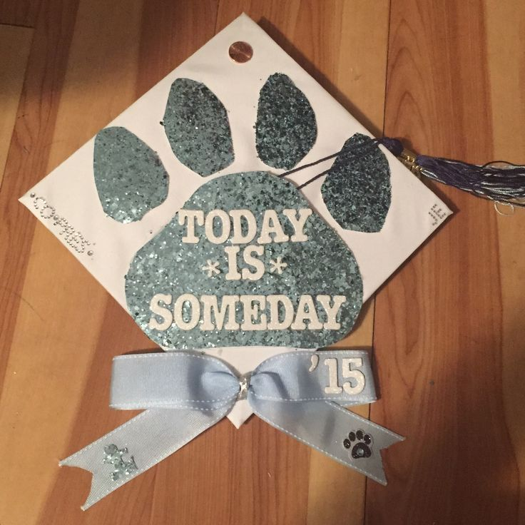 My graduation cap! The quote is inspired by the opening quote of the last episode of One Tree Hill. I added a puzzle piece on the cheer bow because of my work with Autism Speaks! The paw is made out of thick paper from Michael's and I handmade the cheer bow.