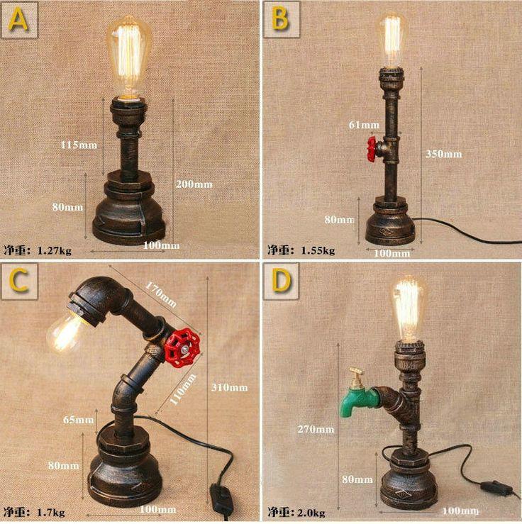 Retro Industrial Iron Pipe Table Lamp Loft RH Desk lamp Floor Light Fixture