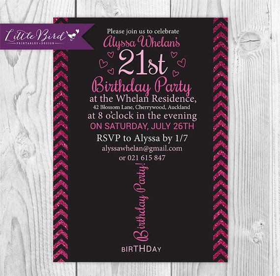 Pink glitter 21st birthday invitation in the shape of a wine glass!