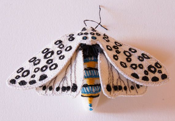 Giant Leopard Tiger Moth Textile Statement Fiber Brooch Entomology Natural History Woodland Accessory Luxury Gift for Her Creature of the Night  They are there for the…