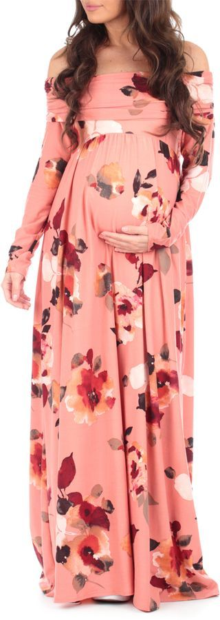 Rust & Red Floral Off-Shoulder Maternity Maxi Dress. Perfect summer dress for baby shower. Floral boho dress for wedding. Pink, red and white flower maternity dress for pregnant women. #Affiliate