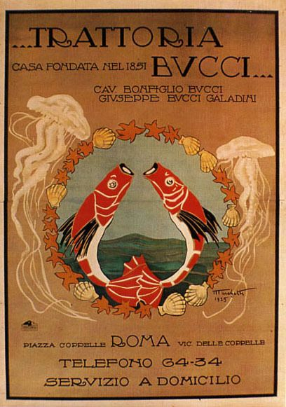 Trattoria Restaurant Rome Roma Seafood Fish Italy Vintage Poster Repo FREE S/H