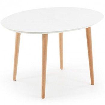 Table Oqui ovale extensible  tableau superieur en MDF laqué en blanc mat. Pieds en bois de hêtre naturel vernis 120/150/200x 90  417€
