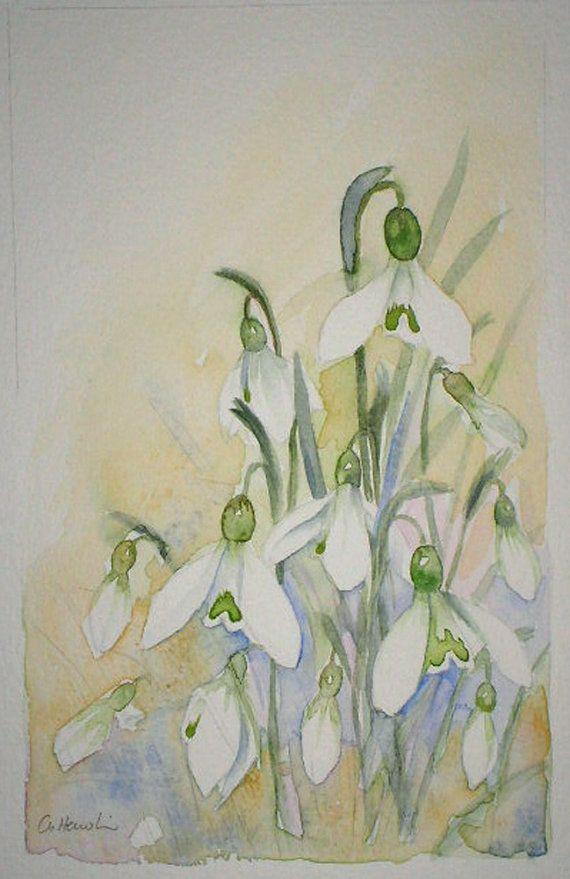 Watercolour painting of Snowdrops original art by artist Amanda Hawkins 13 x 21cm decorative floral artwork ~ wild flowers https://www.etsy.com/uk/listing/221208812/watercolour-painting-of-snowdrops