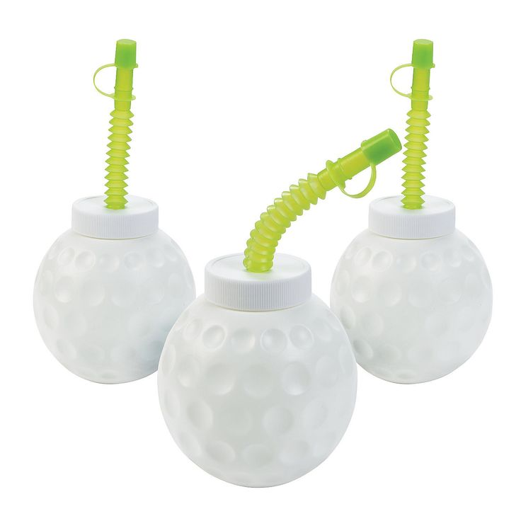 Golf Party Favor -- Golf Ball Molded Cups with Lids & Straws - OrientalTrading.com
