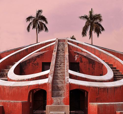 Curved Stairs at Dusk, Jantar Mantar - India    Jantar Mantar was built by Maharaja Jai Singh II in 1724. It was built to observe and compile astronomical tables which would be used to predict the times and movements of Sun, Moon and other planets.