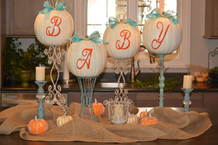 Fall Baby Shower - this would be cute with Baby's monogram for display.