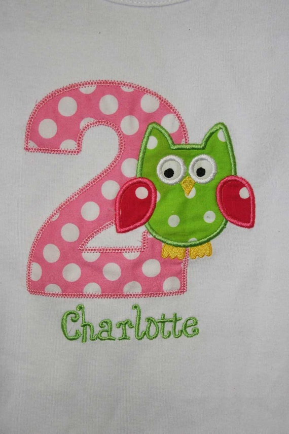 #2 owl birthday shirt