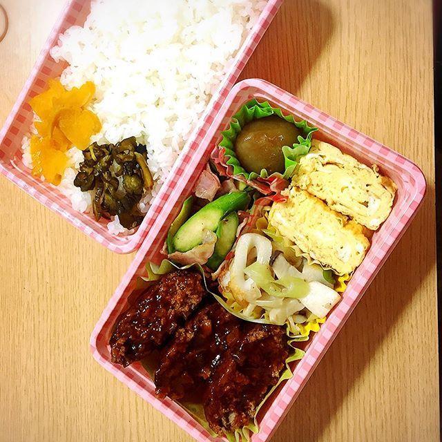 誰かさんのお弁当🍱 #お弁当#ランチ#lunch#lunchbox#肉#meet#卵焼き#egg#アスパラベーコン#vegetable#白米#rice#ちくわとネギエリンギだし醤油炒め#玉コン#Delicious