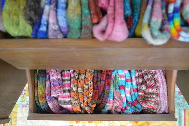 dream drawer of hand knitted socks by Susan B. Anderson