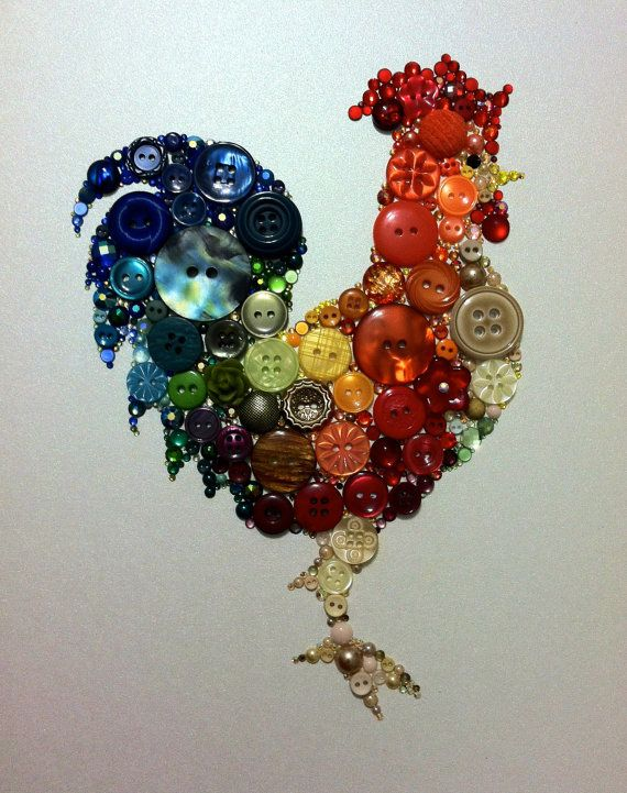 Kitchen Rooster Kitchen Art Buttons and Swarovski by BellePapiers, Love this for all my friends who collect chicken décor.