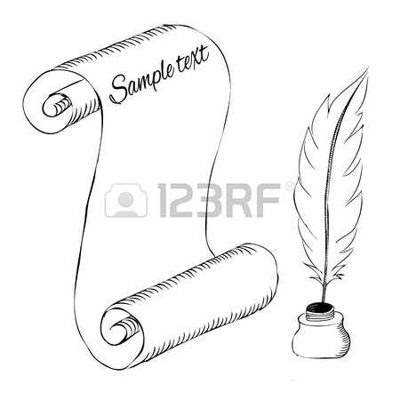 papel con pluma de la pluma y el tintero boceto