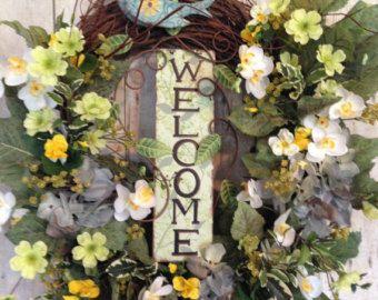 Floral Spring Wreath Summer Wreath for Door by AdorabellaWreaths