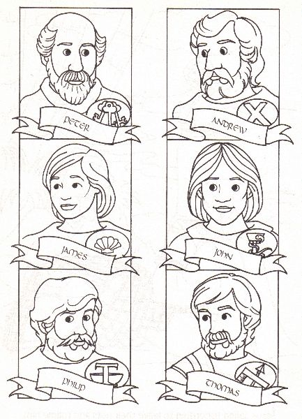 12 Discipelen Met Namen Plaatjes Disciples Pic With Names Bible Coloring Pages