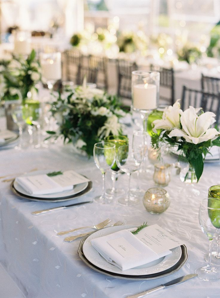 153 best green white corporate tablescapes images on for Floral table decorations for weddings
