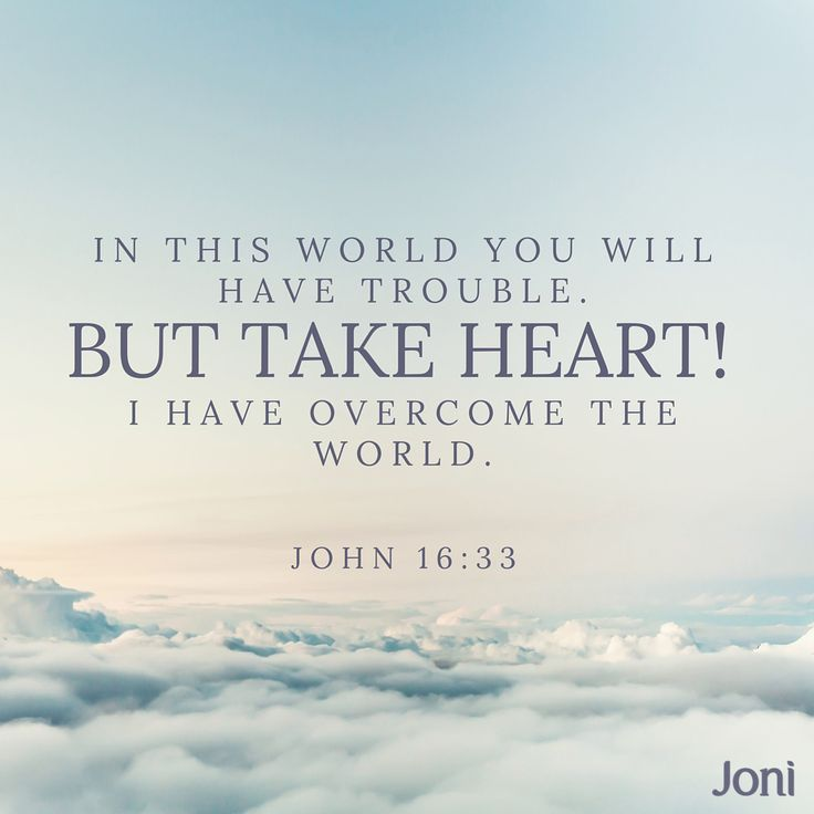"""I have told you these things, so that in me you may have peace. In this world you will have trouble. But take heart! I have overcome the world."" John 16:33 New International Version (NIV)"