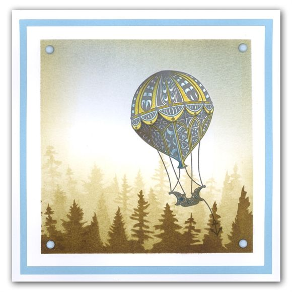 Filigraphy Balloon and Tree Skyline By Barbara Gray Made with: Filigraphy Hot Air Balloon and Pine Forest Mask