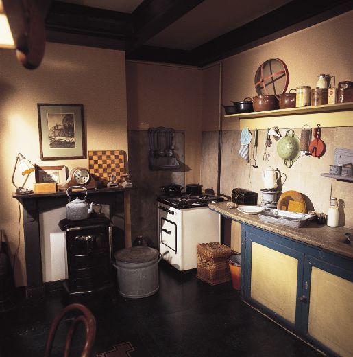 The kitchen/living area in 'het achterhuis'  which was also the bedroom of Mr and Mrs van Pels