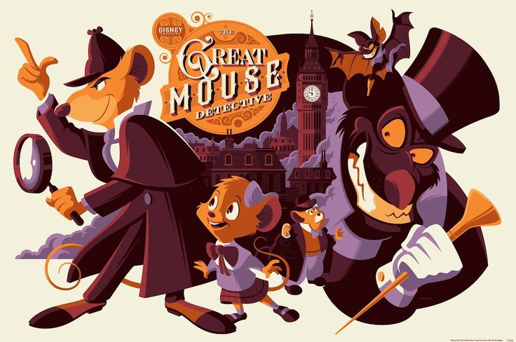 This exclusive Great Mouse Detective print by Tom Whalen pays tribute to the Disney films by Ron Clement and John Musker.